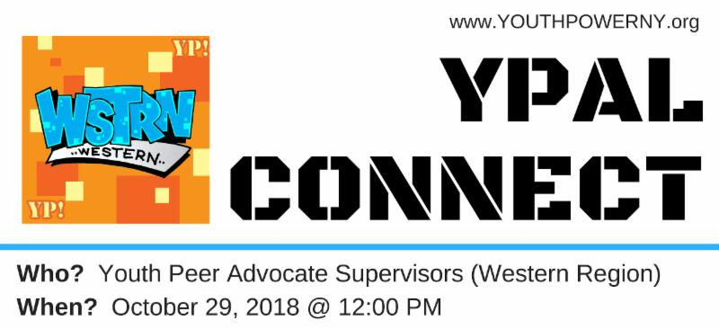YPAL Connect in large text to the right. To the direct left is the Western region logo. A blue line separates YPAL Connect and Western logo. Below the blue line state the date of the meeting_ October 29th 2018 from 12pm and also who it is for_ Youth Peer Advocates _in the western region_.