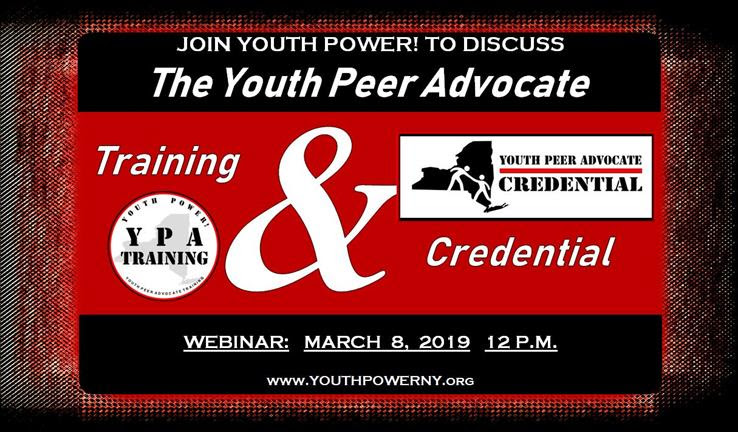 YPA Training and Credentialing Webinar flyer. March 8th 12pm