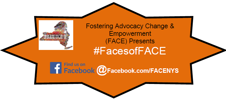 orange star with a black outline. Text reads fostering advocacy change and empowerment (face) presents #facesofface. Find us on facebook at facebook.com facenys