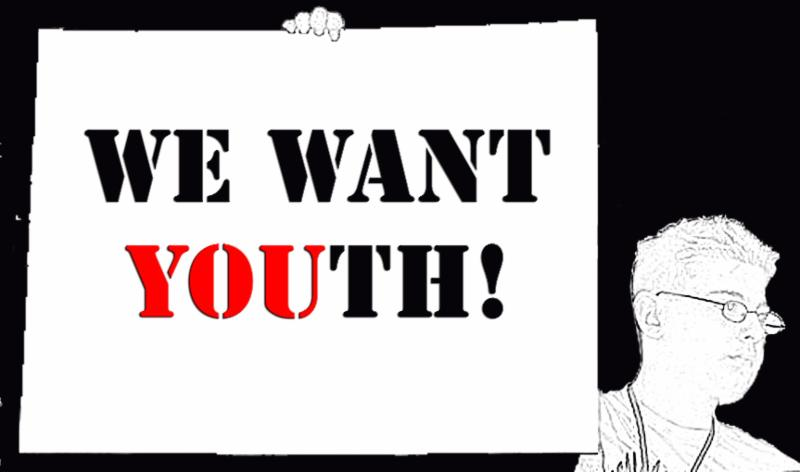 we want YOUth logo. blacka nd white with someone holding up a sign saying we want YOUth