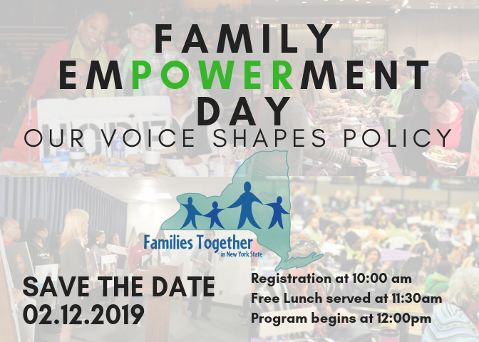 FED save the date. transparent background previous FED pictures. 2.12.19 is the date of FED. Registration starts at 10am_ free lunch at 11_30_ program starts at 12. FTNYS logo in the center of the image.