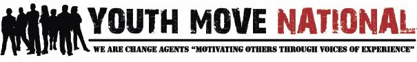 Youth Move National logo with youth to the left of text with the quote underneath_ we are change agents motivating others through voices of experiences.