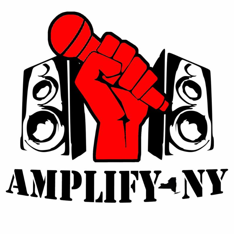 AMPLIFY NY logo. Red fist outlined in black holding a microphone with a speaker on either side facing outward. Underneath, the text reads AMPLIFY NY with a silhouette of new york as the hyphen