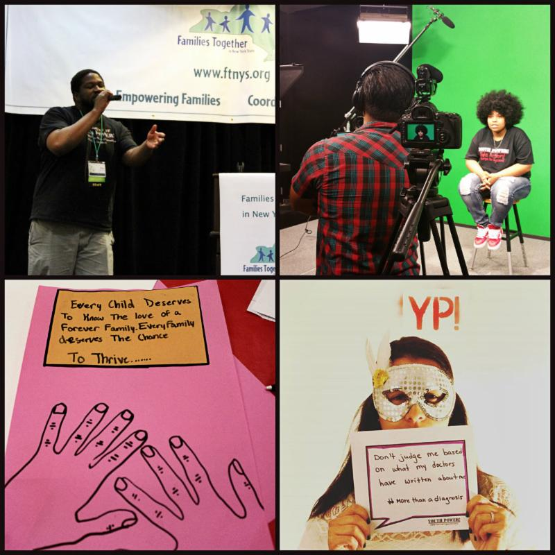 Collage of alex frisina singing on stage, a young person participating in a video project, a sign created at a youth rally, and a photo from YP!'s photobooth project