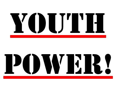 YOUTH POWER_ stacked ontop of one another. black text_ red underline.