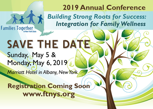 2019 annual conference save the date. may 5-6 2019. marriot hotel_ albany_ ny. registration coming soon www.ftnys.org with green tree to the right of text.