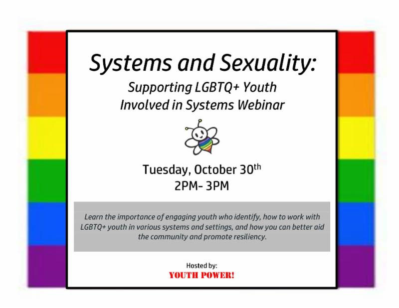 Image shows a rainbow border. Title center_ Systems and Sexuality_ Supporting LGBTQ_ Youth involved in systems webinar. Beneath is the Free to Be logo_ a bee with a rainbow body. Underneath logo is the date_ October 30th from 2-3pm. Underneath date and time_ _Learn the importance of engaging youth who identify_ how to work with LGBTQ_ youth in various systems and settings_ and how you can better aid the community and promote resiliency. _