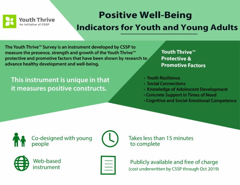 Postive well-being indicators for youth and young adults. Picture shows the brand_ the point of the serve_ b-based platform_ less than 15 minutes to complete.