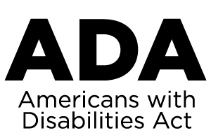 white background white black text. ADA American with disabilities Act logo.