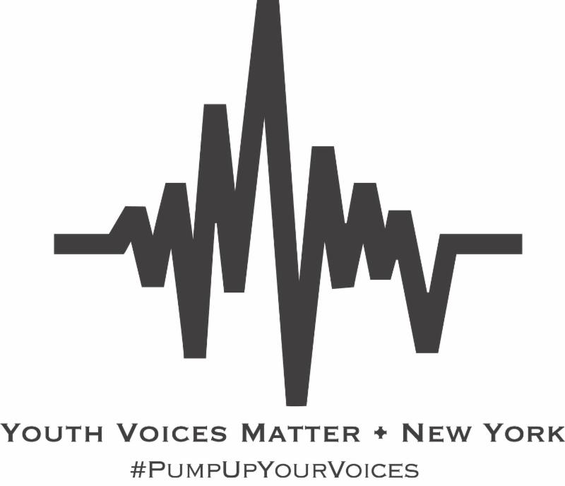 youth voices matter - new york under heart beat moniter line. underneath says pump up your voices all in black text and color.