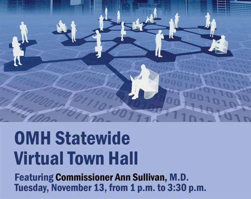 Image shows 19 people scattered around networking with one another. _OMH Statewide Virtual Town Hall_ is in blue letters underneath. _Featuring Commissioner Ann Sullivan_ M.D._ Underneath the feature states the date and time_ November 13th from 1-3_30pm.