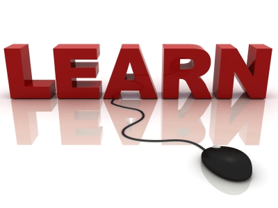 learn in red letters connected to a computer mouse