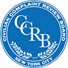 Civilian Complaint Review Board NYC logo. Blue circle with CCRB in the center surrounded by the spelled out text of CCRB.
