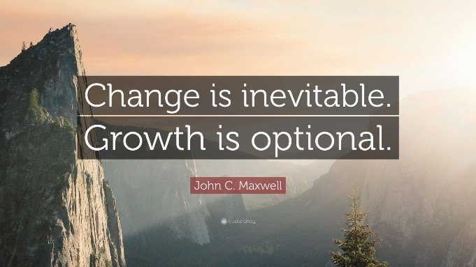 image of a sunset behind mountains with a quote that reads Change is inevitable. Growth is optional.