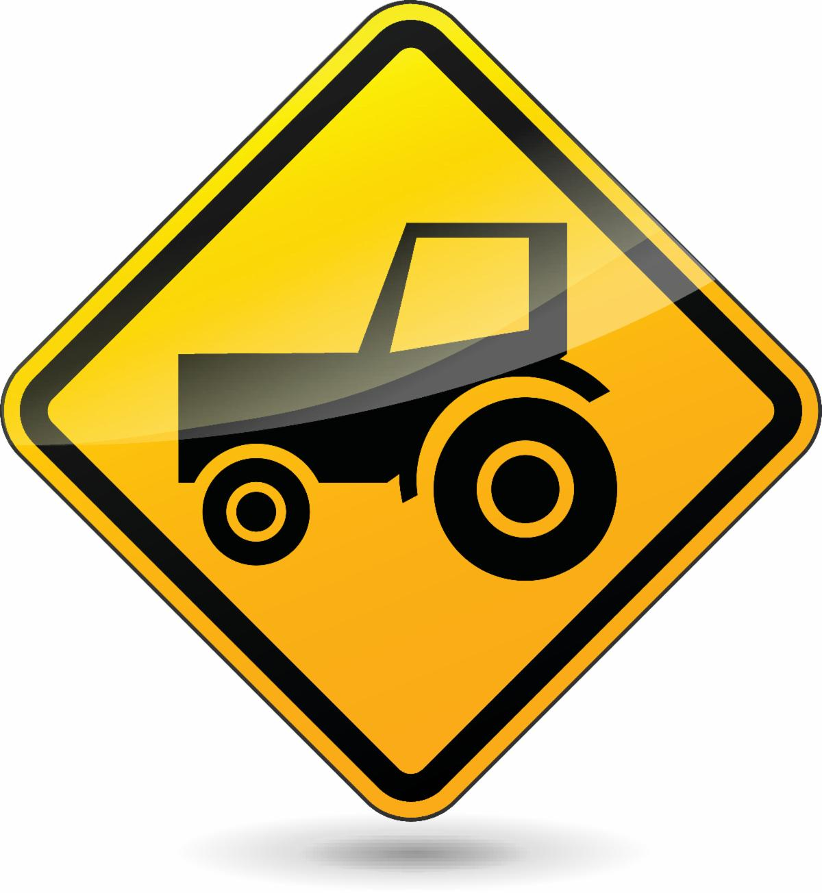 Tractor road sign