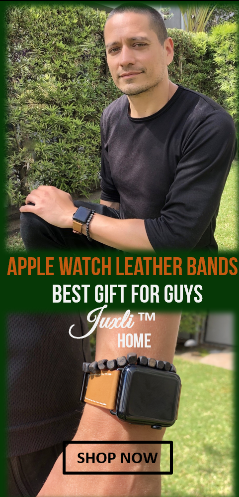 Juxli Home Brown Apple Watch Leather Replacement Band on Space Gray Apple Watch Worn by Man with Black Shirt