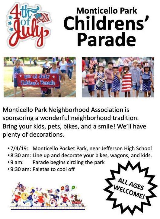 Monticello Park Children's Parade Flyer