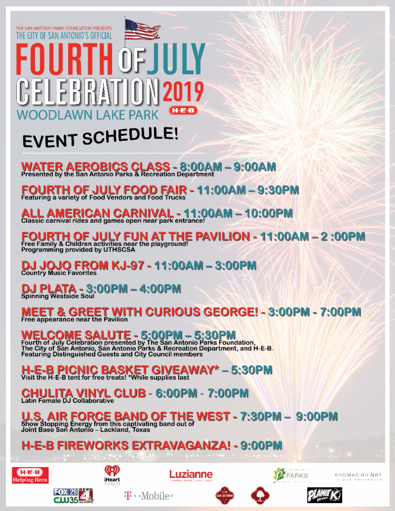 4th of July Flyer, including a schedule of activities.
