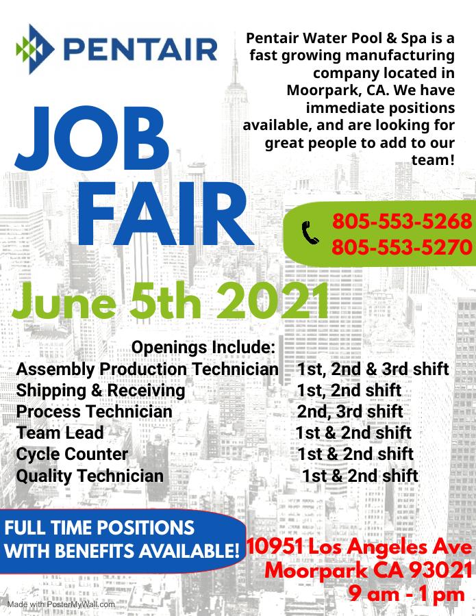 Pentair Job Fair on June 5