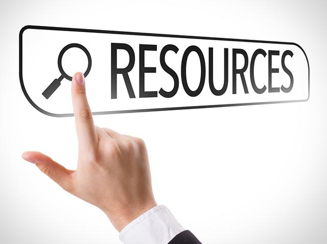 Hand pointing to Resources