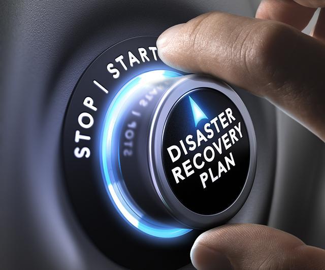 Start-Stop Dial Saying Disaster Recovery Plan