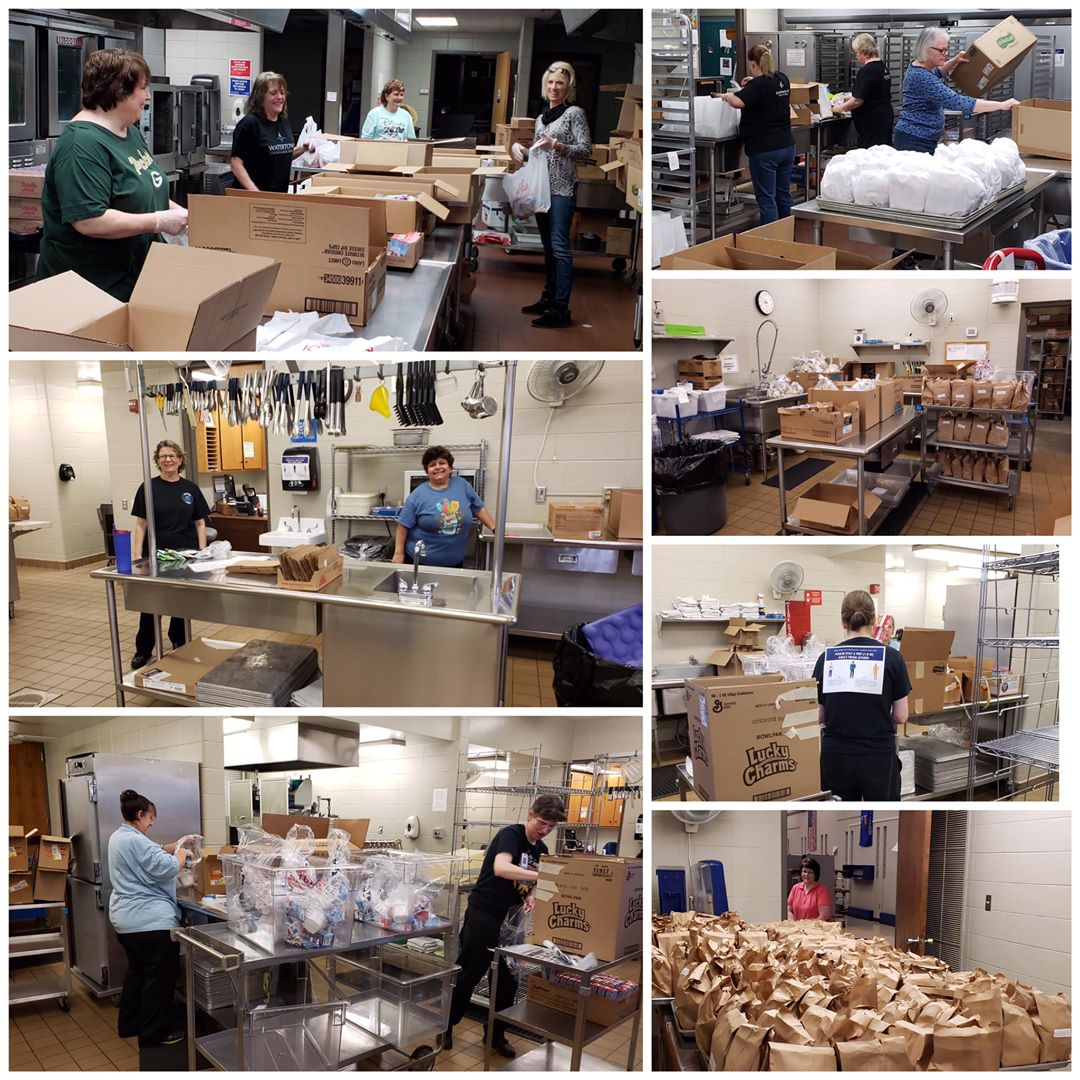 Photo collage of WUSD Food Service staff preparing meals