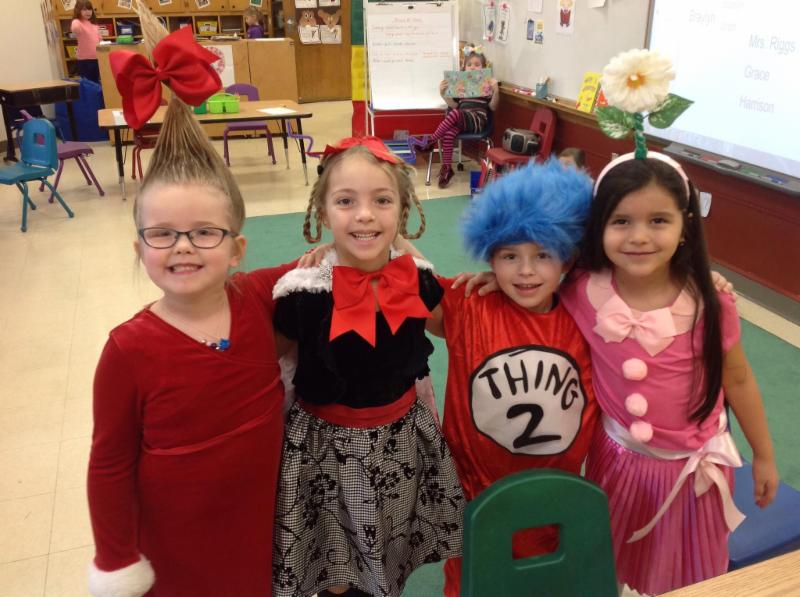 Four Lincoln STEM students dressed up for Dr. Seuss Day