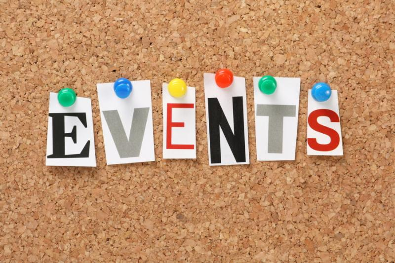 The word Events in cut out magazine letters pinned to a cork notice board. Events may refer to news
