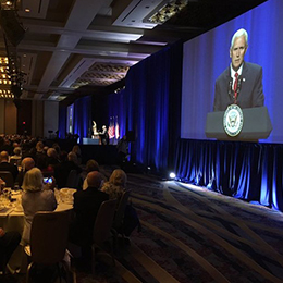 Vice President Mike Pence addresses the National Catholic Prayer Breakfast in Washington June 6. (@VP Twitter)