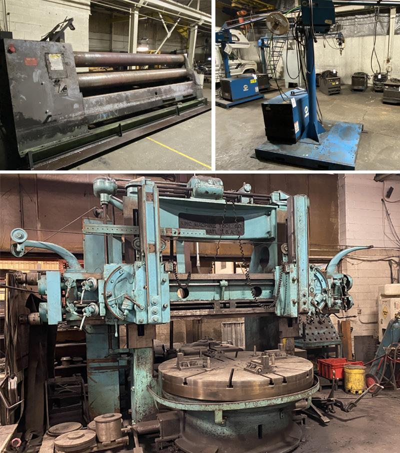Lincoln & Miller Welders, Roundo Plate Bending Roll, Vertical Boring Mills, Material Handling & More