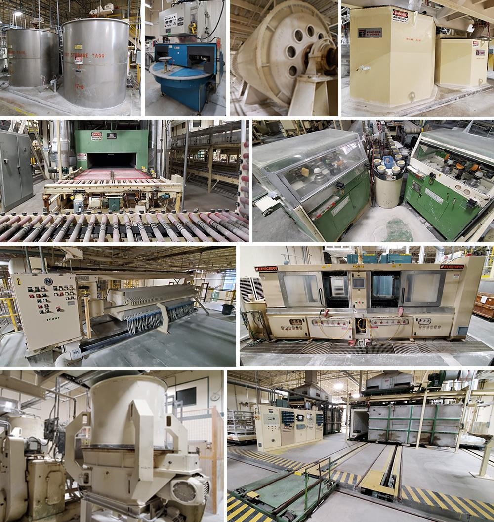 Tanks, Mills, Blungers, Mixers & Dispersers, Screeners, Filter Presses, Forming Machines, Kilns, Dryers, Ovens, and Decorating Machines