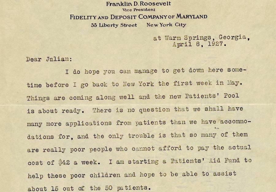 Letter by Franklin Delano Roosevelt concerning the construction of polio rehabilitation facility