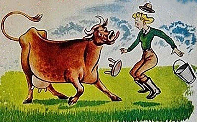 Cow and dairy maid ad