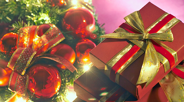 wrapped gifts, ornaments