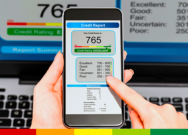 Mobile phone showing 765 credit score on Credit Report