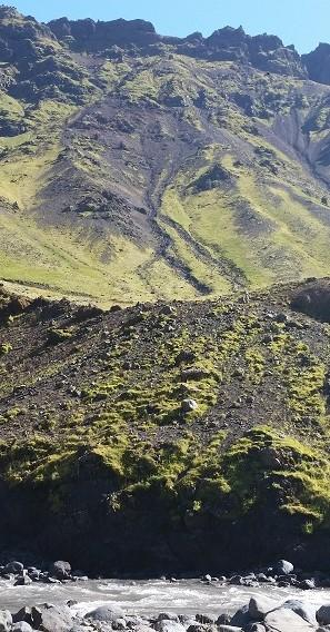 Mountainside and stream in Iceland