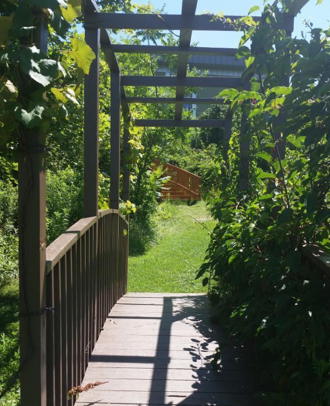 Foot bridge into garden