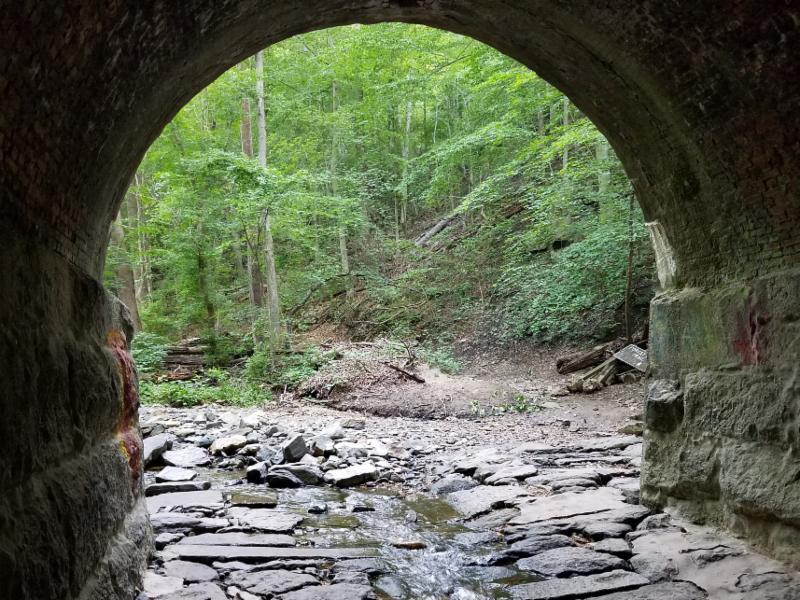 Inside train bridge looking out