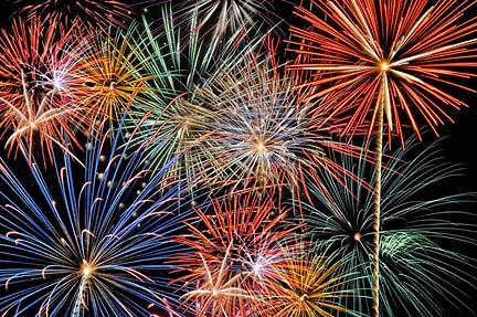 Multi color fireworks