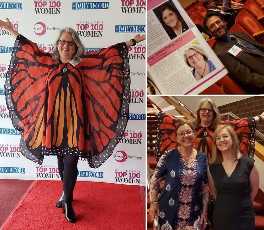 Joan Plisko in butterfly dress at award event