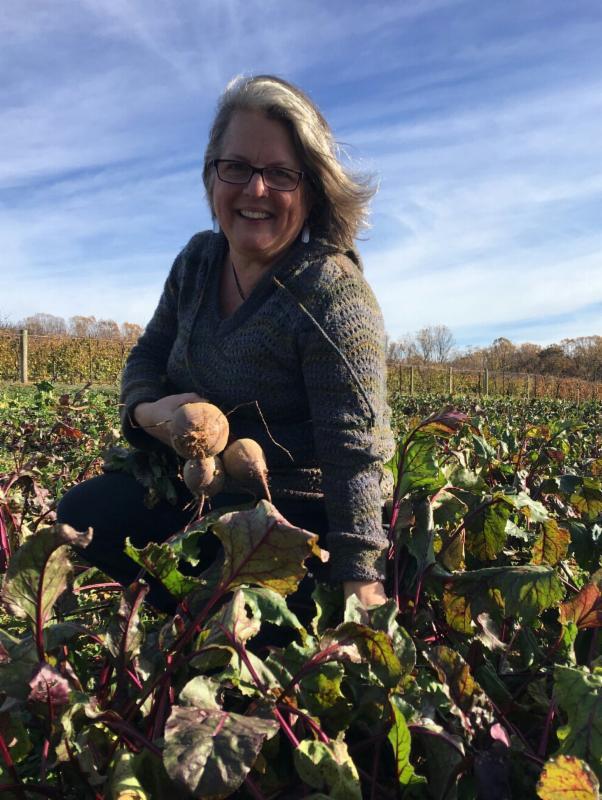 Joan Plisko in beet field