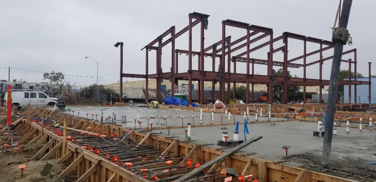 900 wing steel beams and foundation
