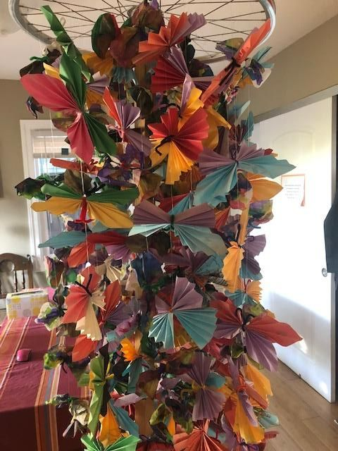 paper butterfly installation