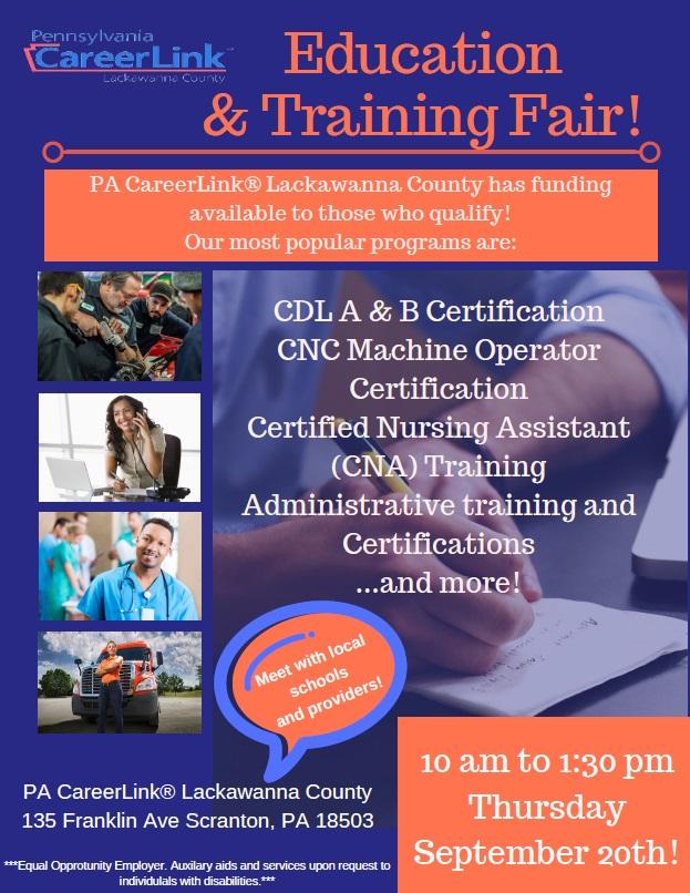 Education Training Fair Pa Careerlink Thursday 9 20 2018 10am 1