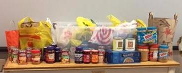 donated soups and PB and J from Wyoming Presbyterian Church in Millburn