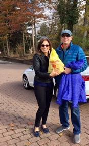 Michael Schwamm accepts the 100th turkey