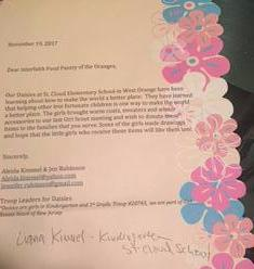 Note from Daisy Troop 20745