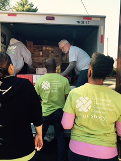 Investors volunteers and our crew unloaded two trucks in April