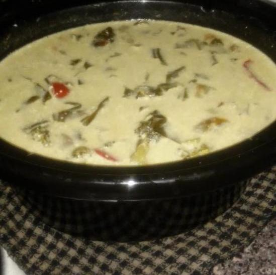 Creamy chicken soup made from provided chicken chunks and produce.