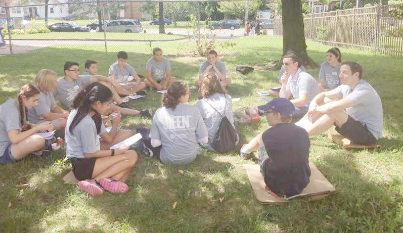 Discussion after service for JTeens Mitzvot of Metroest